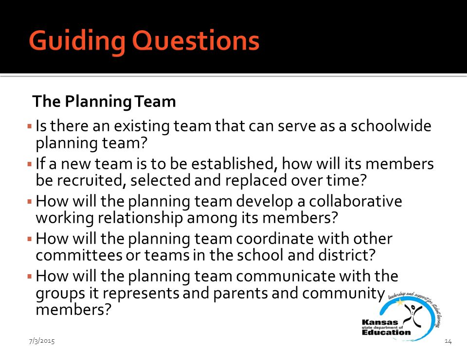 The Planning Team  Is there an existing team that can serve as a schoolwide planning team.