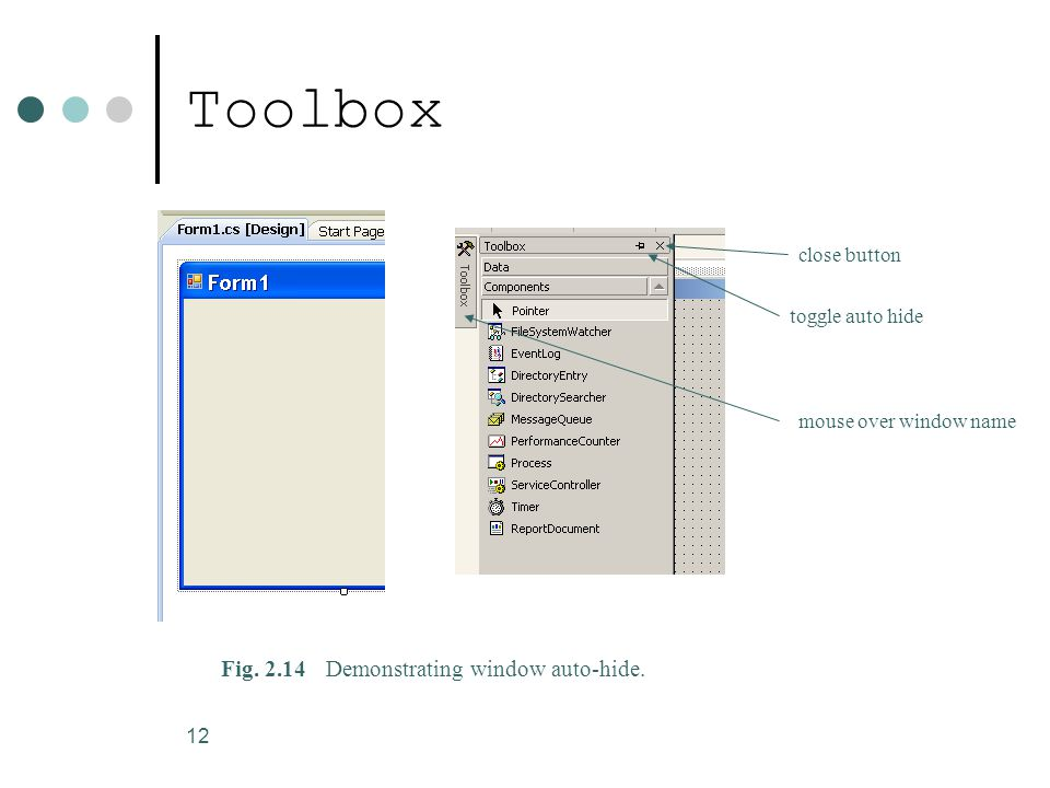 12 Toolbox Fig. 2.14Demonstrating window auto-hide.