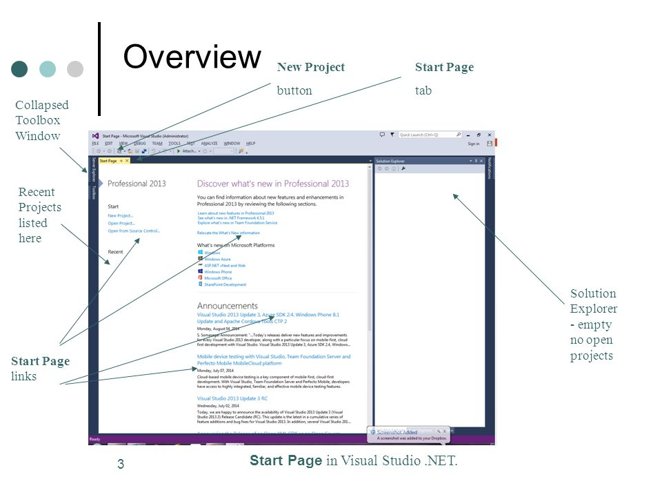 3 Overview Start Page in Visual Studio.NET.