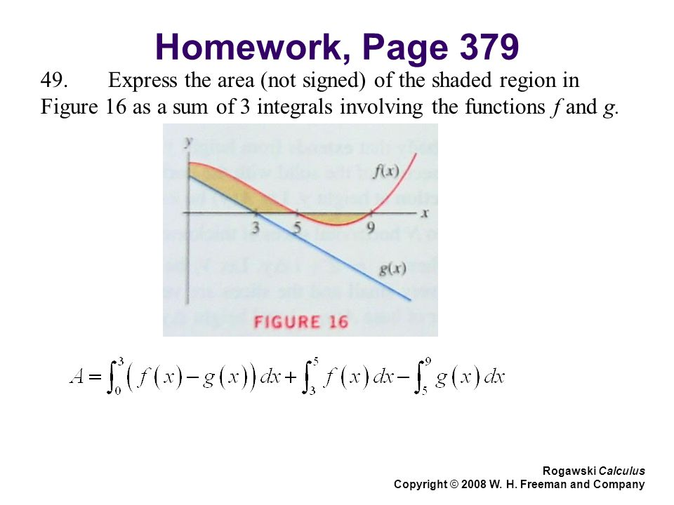 Homework, Page Express the area (not signed) of the shaded region in Figure 16 as a sum of 3 integrals involving the functions f and g.