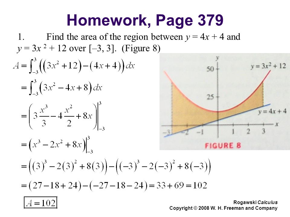 Homework, Page Find the area of the region between y = 4x + 4 and y = 3x over [–3, 3].