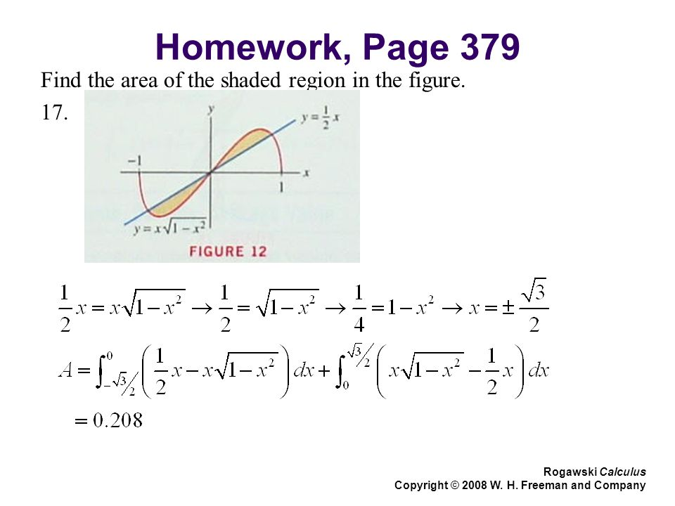 Homework, Page 379 Find the area of the shaded region in the figure.