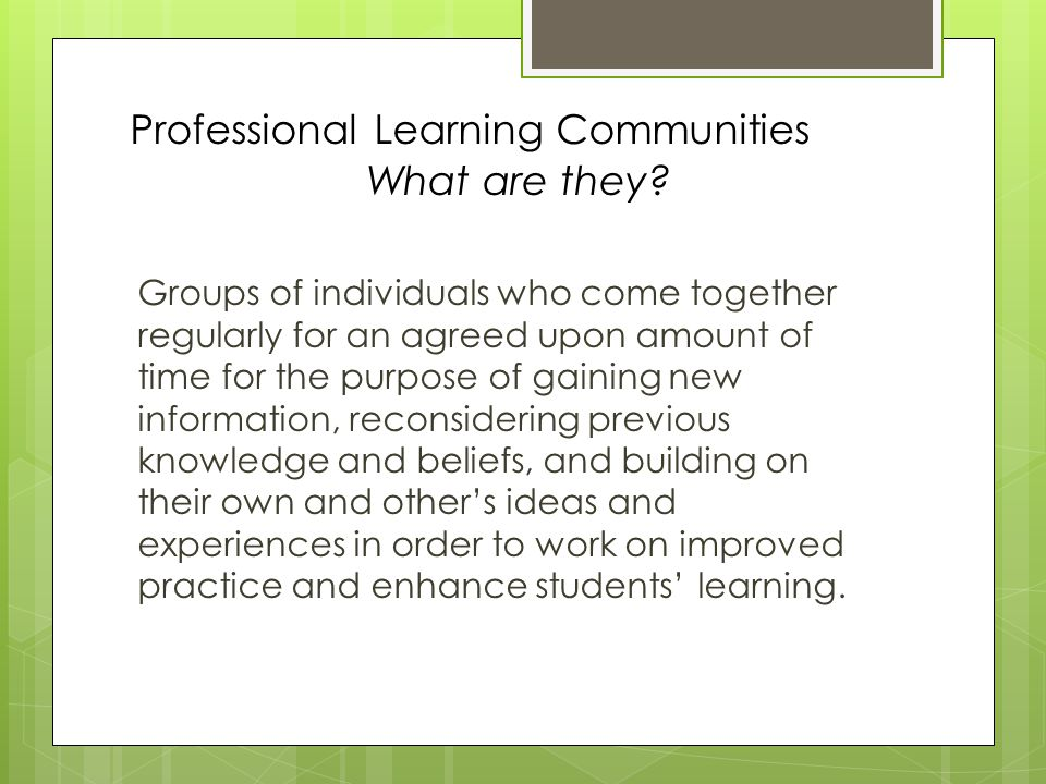 Professional Learning Communities What are they.