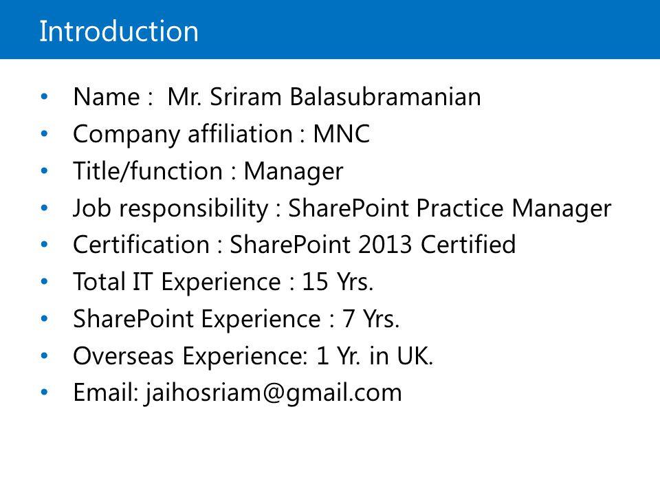 Microsoft Official Course Microsoft Sharepoint 2013 Sriram