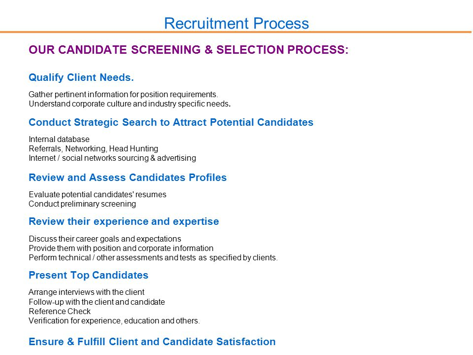 Recruitment Process OUR CANDIDATE SCREENING & SELECTION PROCESS: Qualify Client Needs.