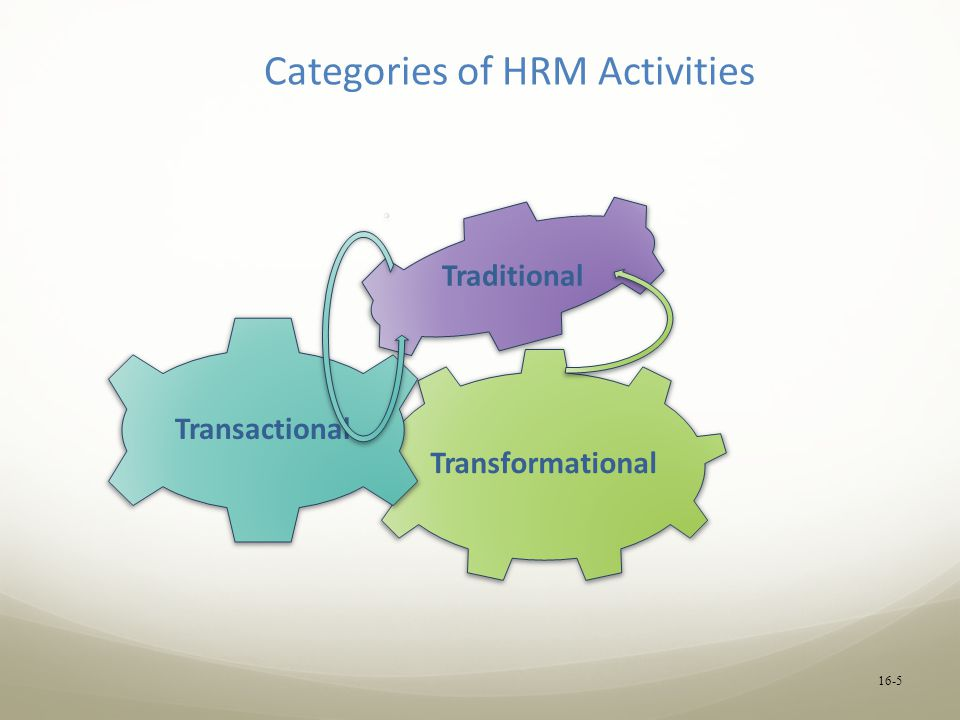 16-5 Categories of HRM Activities Transformational Transactional Traditional