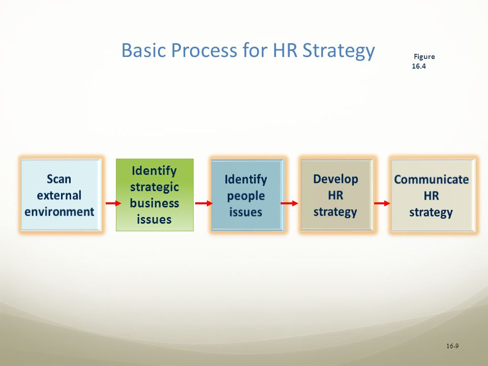 Basic Process for HR Strategy Scan external environment Identify strategic business issues Identify people issues Develop HR strategy Communicate HR strategy Figure