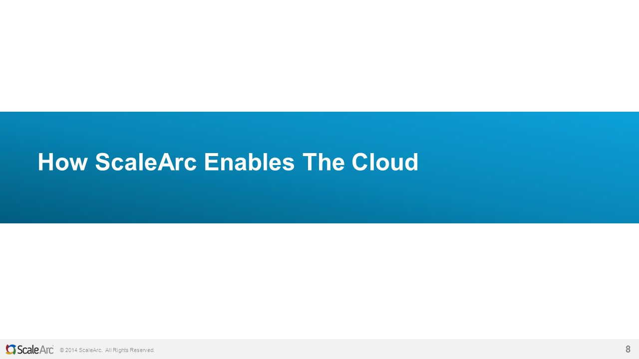 © 2014 ScaleArc. All Rights Reserved. 8 How ScaleArc Enables The Cloud