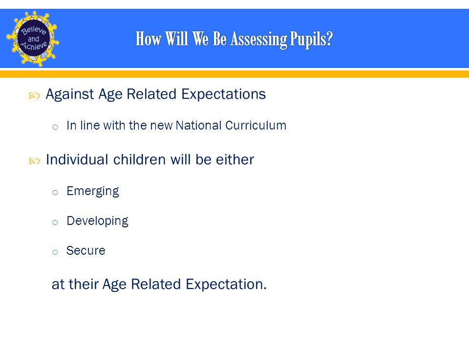  Against Age Related Expectations o In line with the new National Curriculum  Individual children will be either o Emerging o Developing o Secure at their Age Related Expectation.