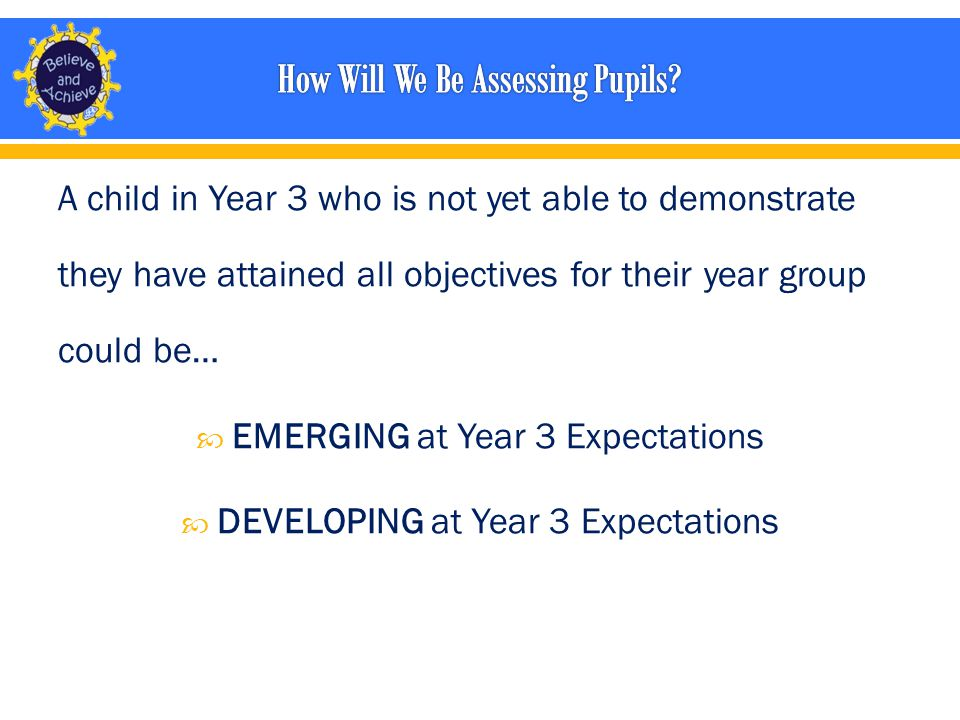 A child in Year 3 who is not yet able to demonstrate they have attained all objectives for their year group could be…  EMERGING at Year 3 Expectations  DEVELOPING at Year 3 Expectations