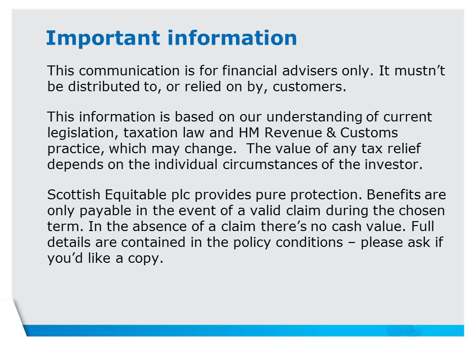 Important information This communication is for financial advisers only.