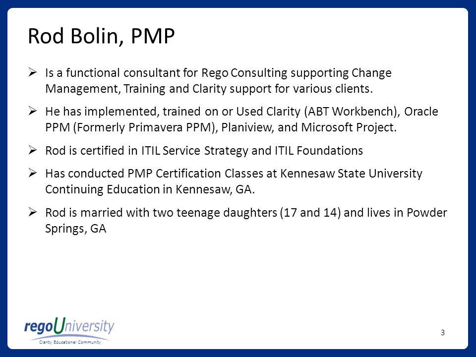 Clarity Educational Community Portfolio Management Overview Ppt