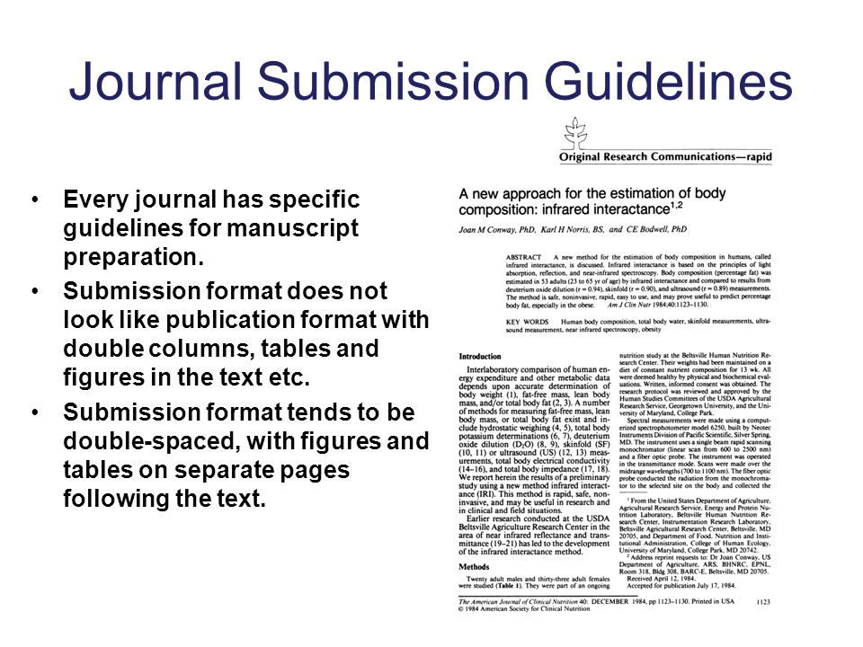 Journal Submission Guidelines Every journal has specific guidelines for manuscript preparation.