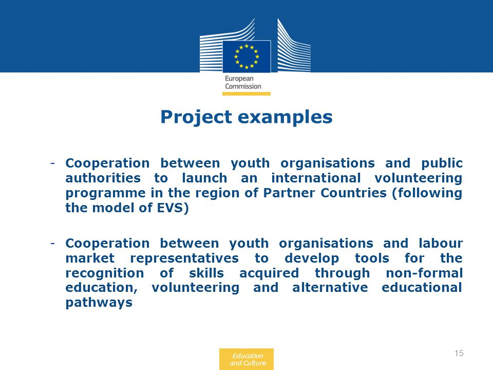 Education and Culture -Cooperation between youth organisations and public authorities to launch an international volunteering programme in the region of Partner Countries (following the model of EVS) -Cooperation between youth organisations and labour market representatives to develop tools for the recognition of skills acquired through non-formal education, volunteering and alternative educational pathways Project examples 15