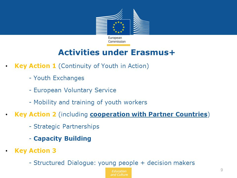 Education and Culture Activities under Erasmus+ Key Action 1 (Continuity of Youth in Action) - Youth Exchanges - European Voluntary Service - Mobility and training of youth workers Key Action 2 (including cooperation with Partner Countries) - Strategic Partnerships - Capacity Building Key Action 3 - Structured Dialogue: young people + decision makers 9