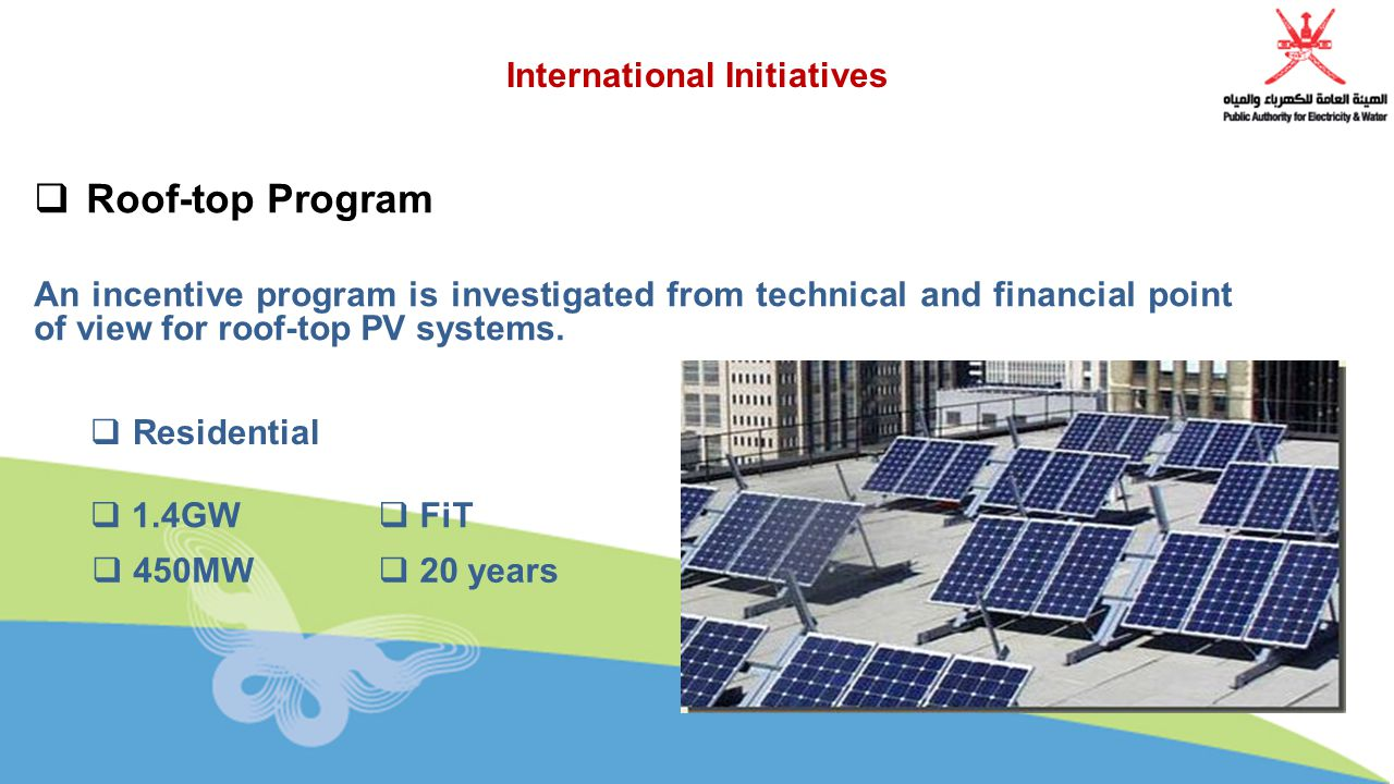 International Initiatives  Roof-top Program An incentive program is investigated from technical and financial point of view for roof-top PV systems.