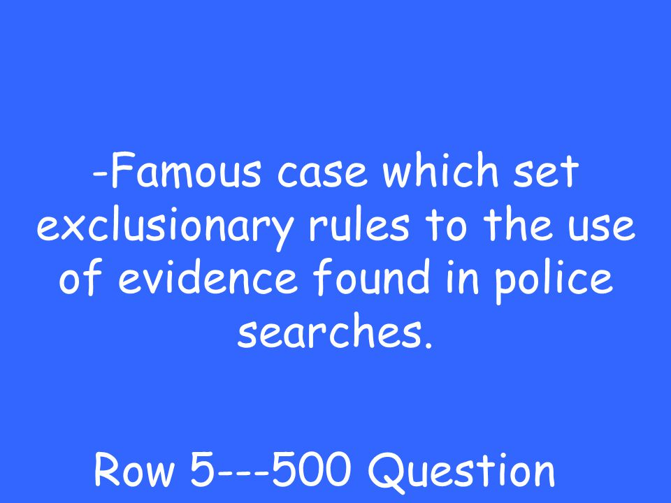 -Schenck v US Row Answer