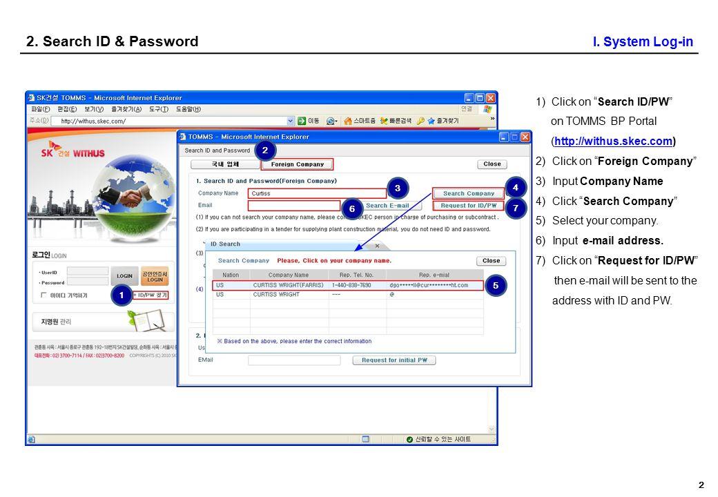 0 I System Log-in 1 Login 2 Search ID & PWD 3 Start System 4 Bid