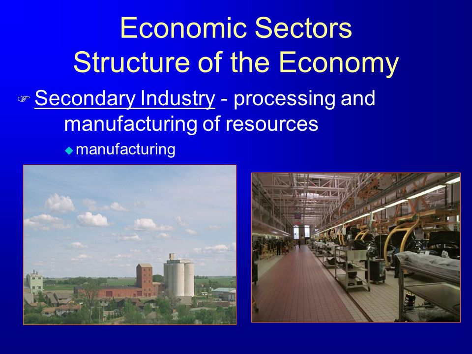 Economic Sectors Structure of the Economy F Secondary Industry - processing and manufacturing of resources u manufacturing
