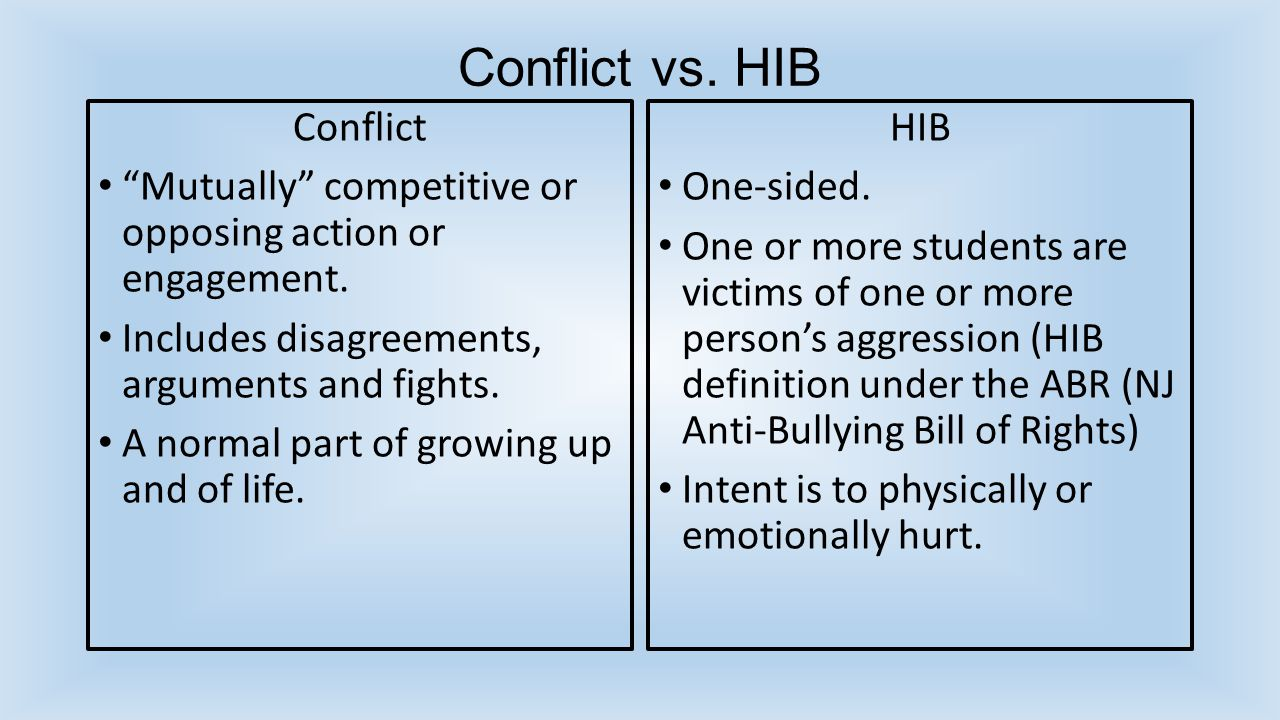 Conflict vs. HIB Conflict Mutually competitive or opposing action or engagement.