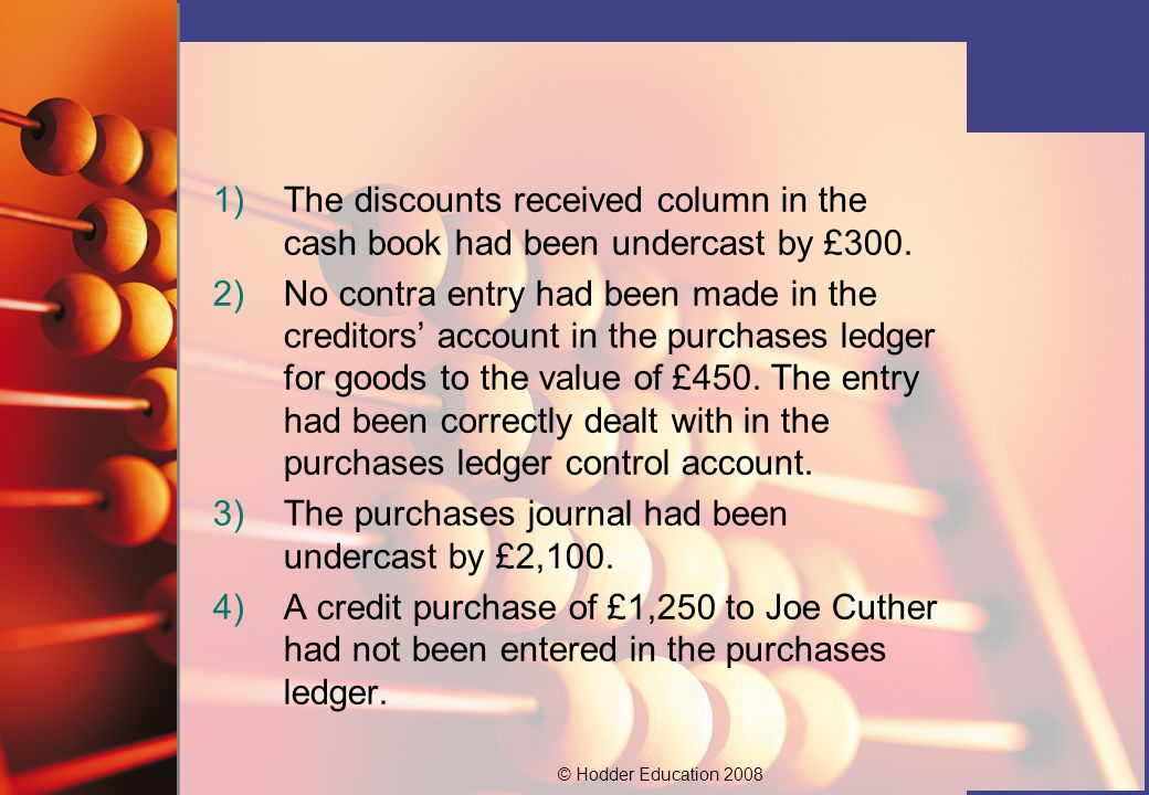 © Hodder Education )The discounts received column in the cash book had been undercast by £300.