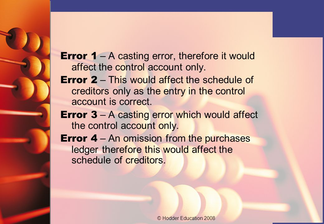 © Hodder Education 2008 Error 1 – A casting error, therefore it would affect the control account only.