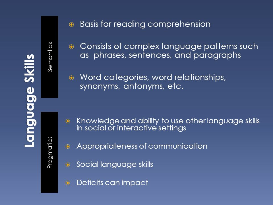 Semantics Pragmatics  Basis for reading comprehension  Consists of complex language patterns such as phrases, sentences, and paragraphs  Word categories, word relationships, synonyms, antonyms, etc.
