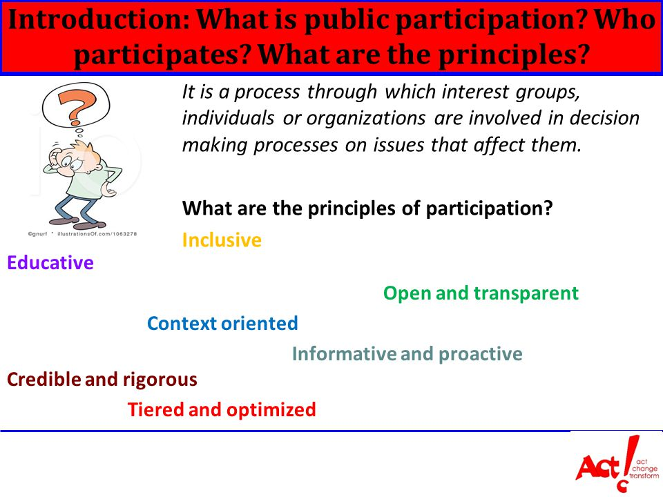 Introduction: What is public participation. Who participates.