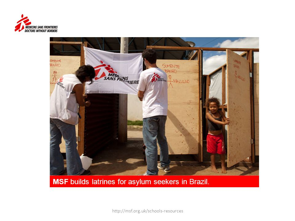 MSF builds latrines for asylum seekers in Brazil.