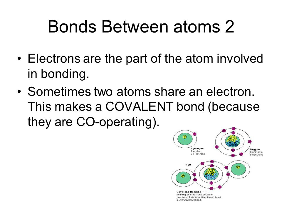 Bonds Between atoms 2 Electrons are the part of the atom involved in bonding.