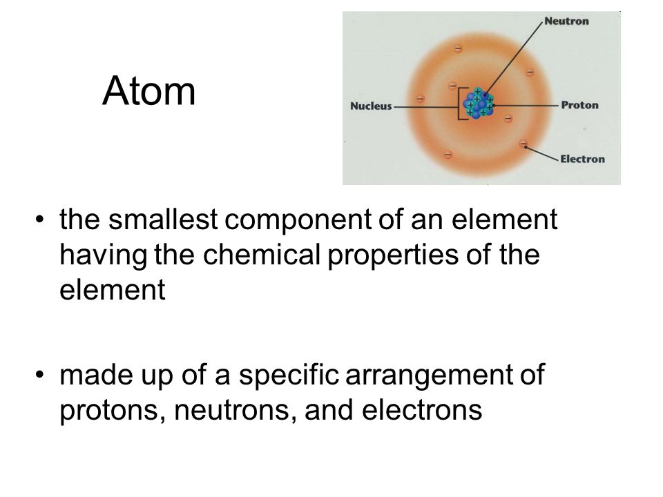 Atom the smallest component of an element having the chemical properties of the element made up of a specific arrangement of protons, neutrons, and electrons