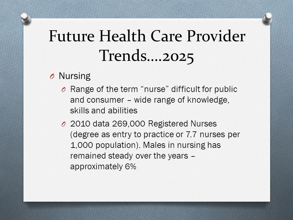 Future Health Care Provider Trends….2025 O Nursing O Range of the term nurse difficult for public and consumer – wide range of knowledge, skills and abilities O 2010 data 269,000 Registered Nurses (degree as entry to practice or 7.7 nurses per 1,000 population).