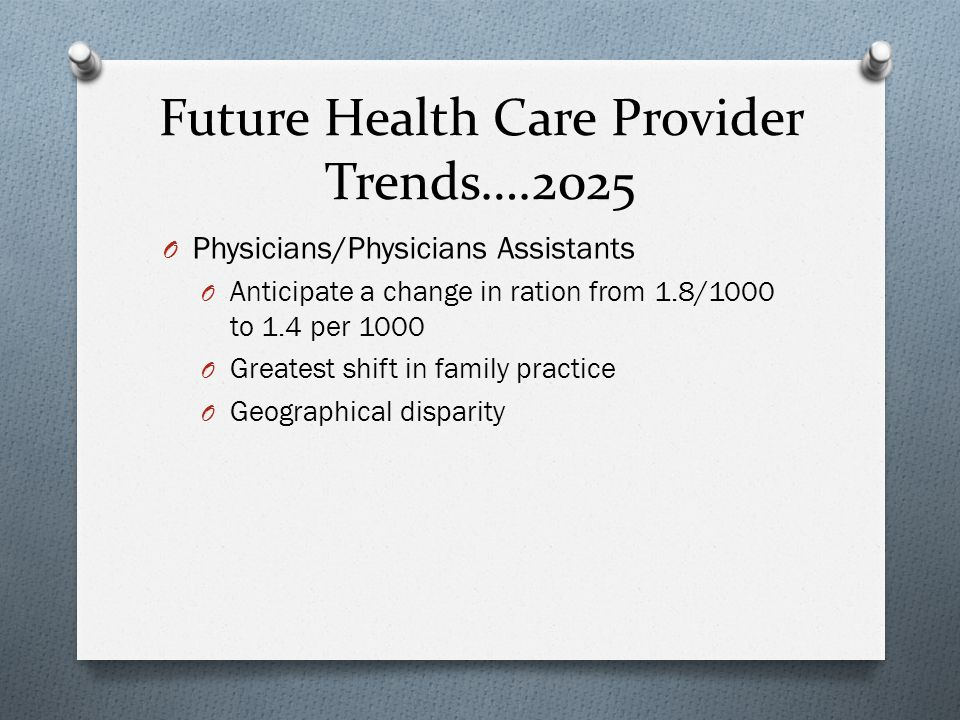 Future Health Care Provider Trends….2025 O Physicians/Physicians Assistants O Anticipate a change in ration from 1.8/1000 to 1.4 per 1000 O Greatest shift in family practice O Geographical disparity