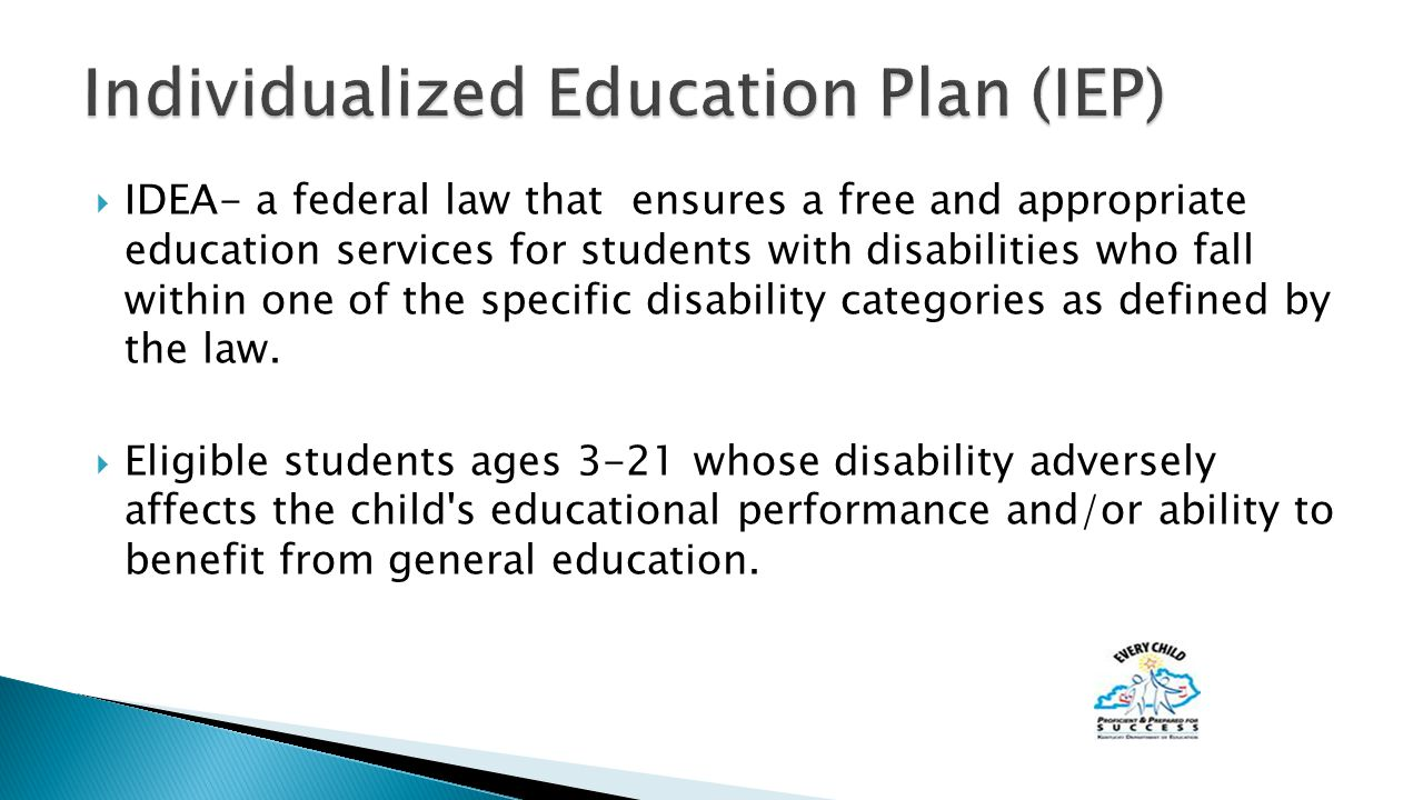  IDEA- a federal law that ensures a free and appropriate education services for students with disabilities who fall within one of the specific disability categories as defined by the law.
