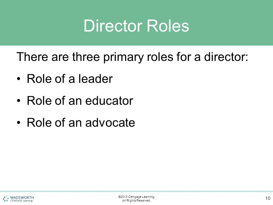 Director Roles There are three primary roles for a director: Role of a leader Role of an educator Role of an advocate 10 ©2013 Cengage Learning.
