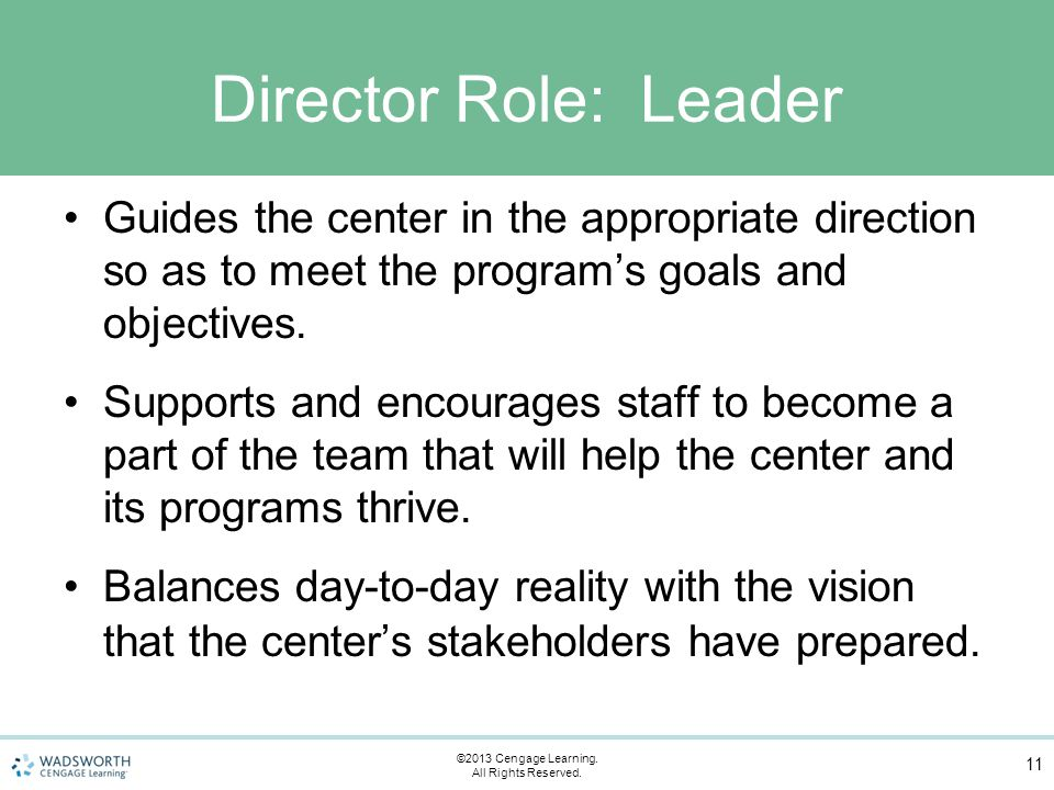 Director Role: Leader Guides the center in the appropriate direction so as to meet the program's goals and objectives.