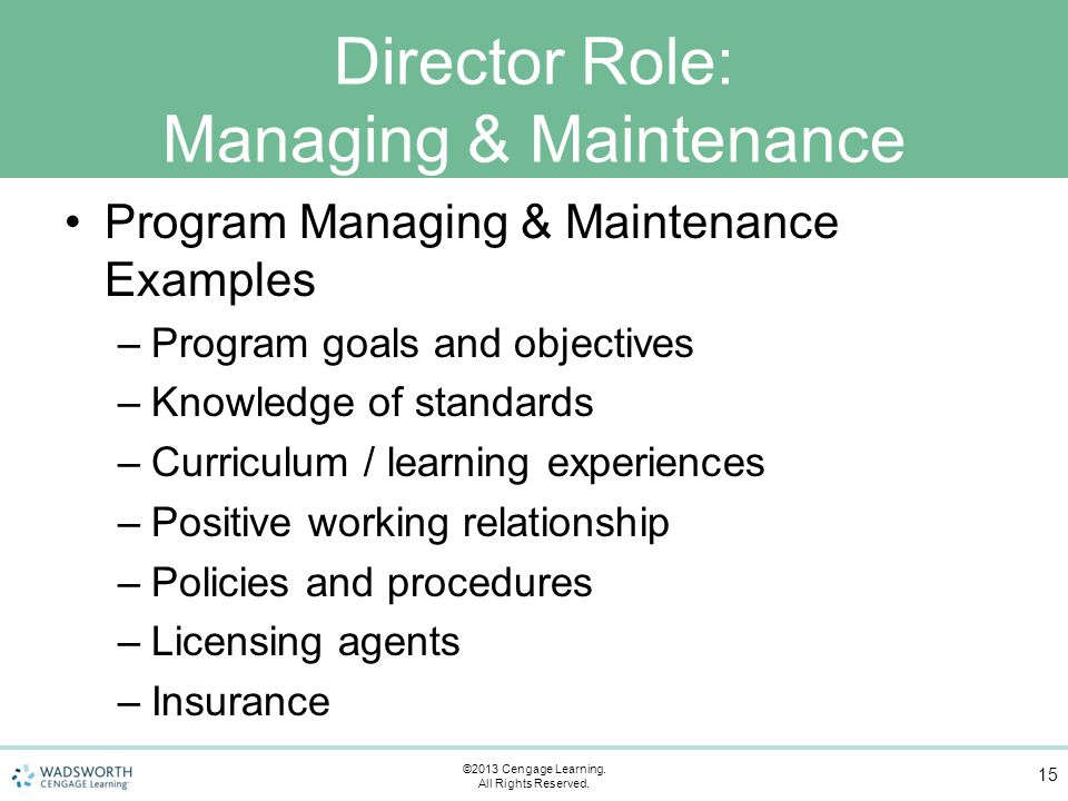 Director Role: Managing & Maintenance Program Managing & Maintenance Examples –Program goals and objectives –Knowledge of standards –Curriculum / learning experiences –Positive working relationship –Policies and procedures –Licensing agents –Insurance 15 ©2013 Cengage Learning.