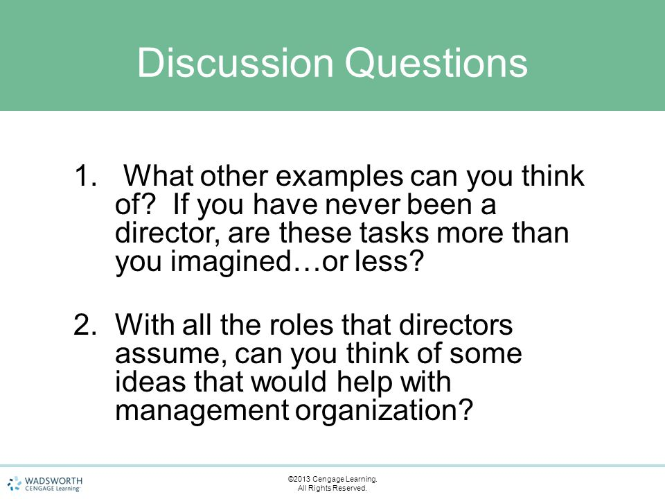 Discussion Questions 1. What other examples can you think of.