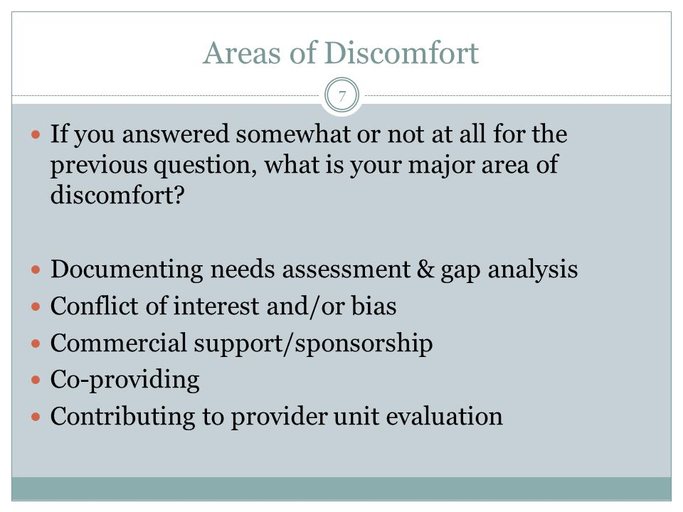 Areas of Discomfort If you answered somewhat or not at all for the previous question, what is your major area of discomfort.