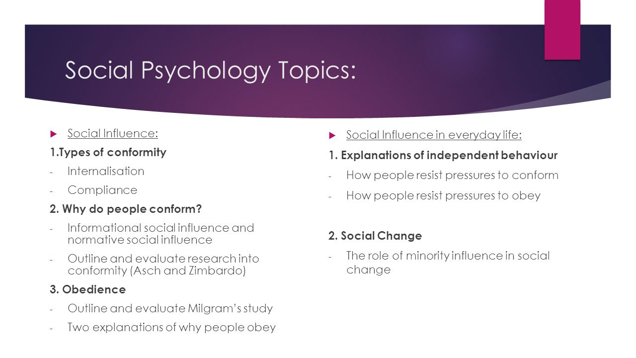 conformity research topics