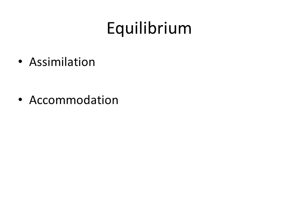 Equilibrium Assimilation Accommodation