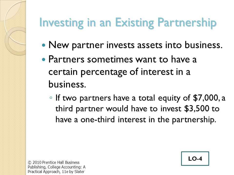 Investing in an Existing Partnership New partner invests assets into business.