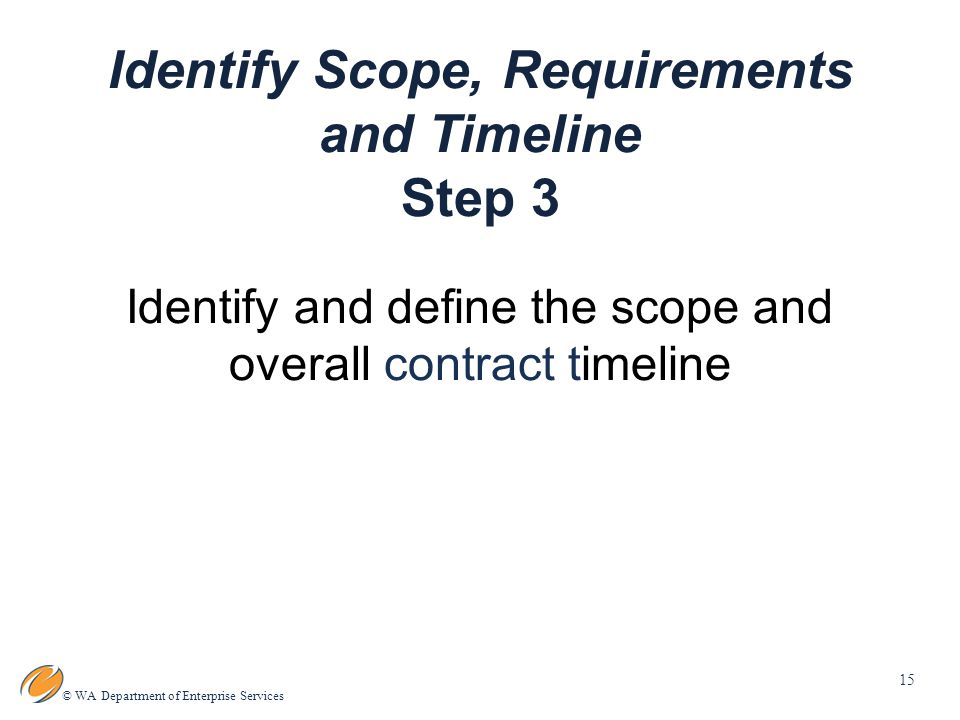 15 © WA Department of Enterprise Services Identify Scope, Requirements and Timeline Step 3 Identify and define the scope and overall contract timeline