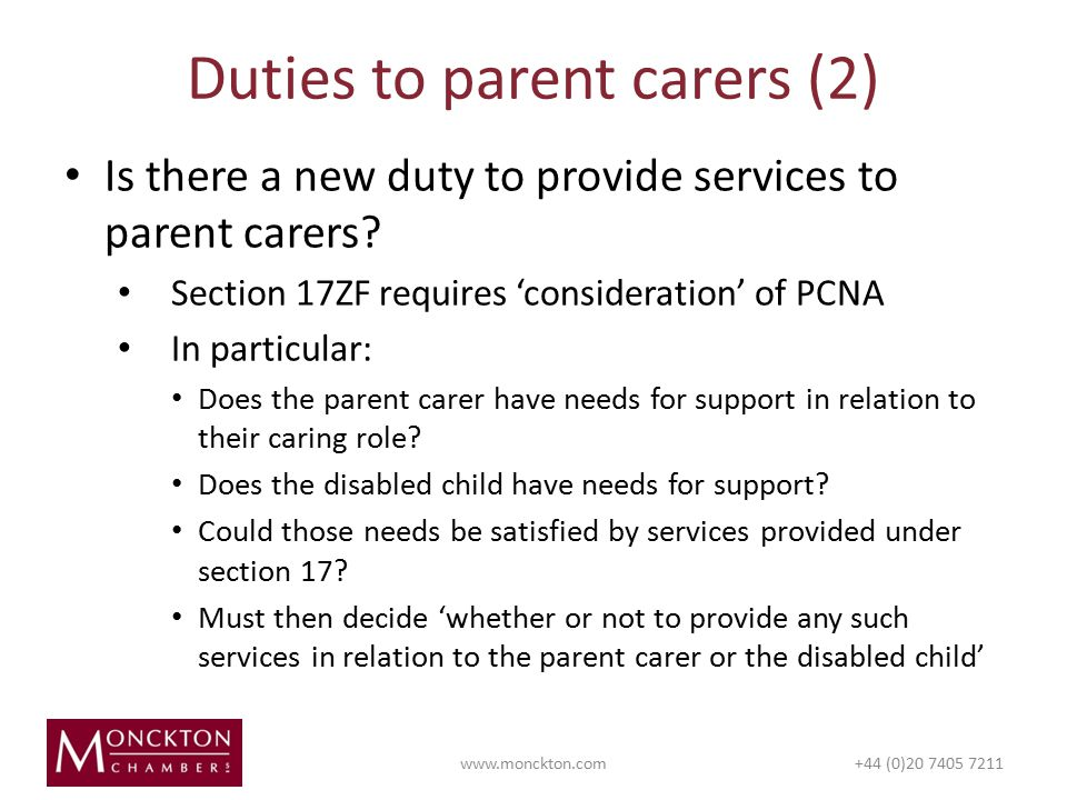 Is there a new duty to provide services to parent carers.