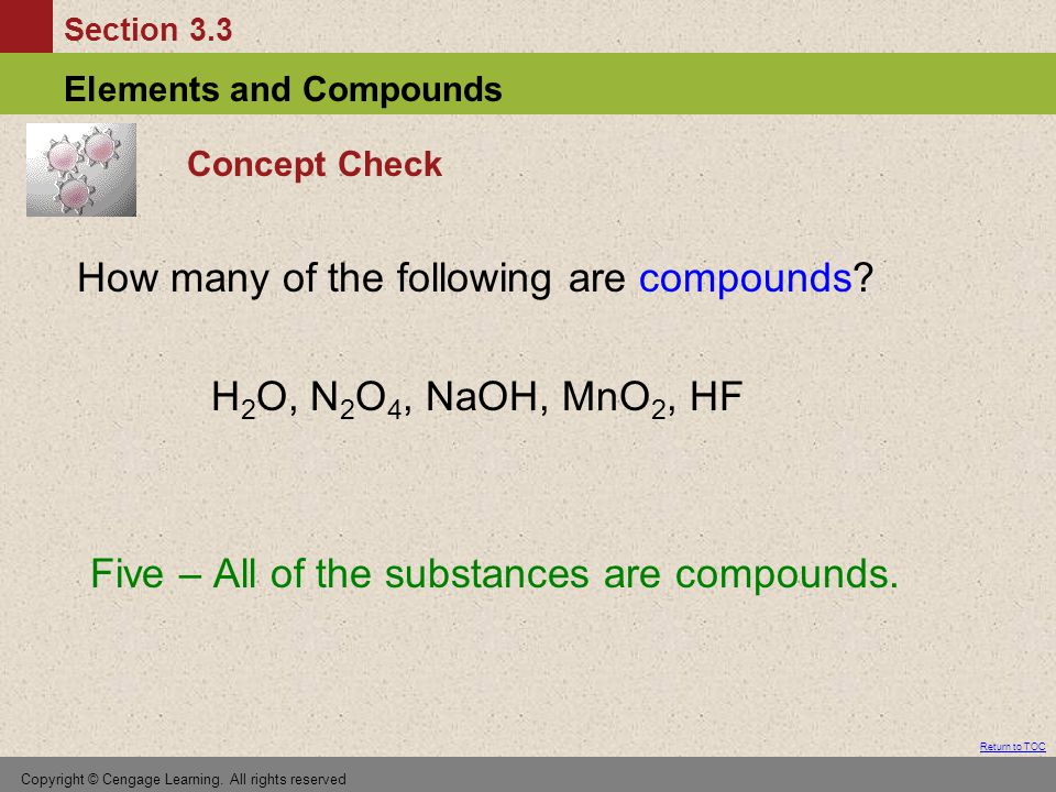 Section 3.3 Elements and Compounds Return to TOC Copyright © Cengage Learning.