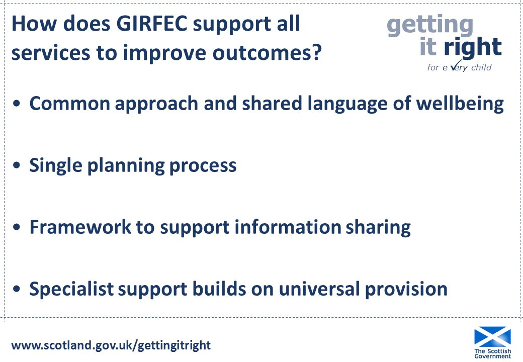 getting it right for e ery child  How does GIRFEC support all services to improve outcomes.