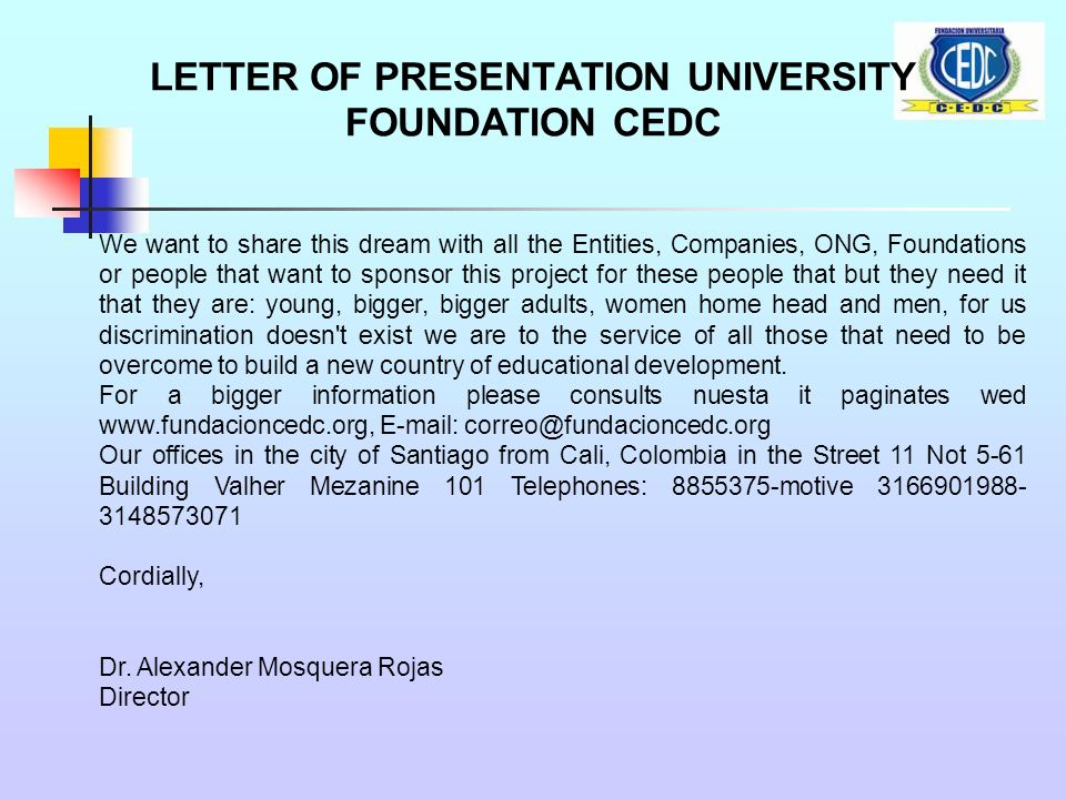 Letter of presentation university foundation cedc receive a cordial 2 letter m4hsunfo