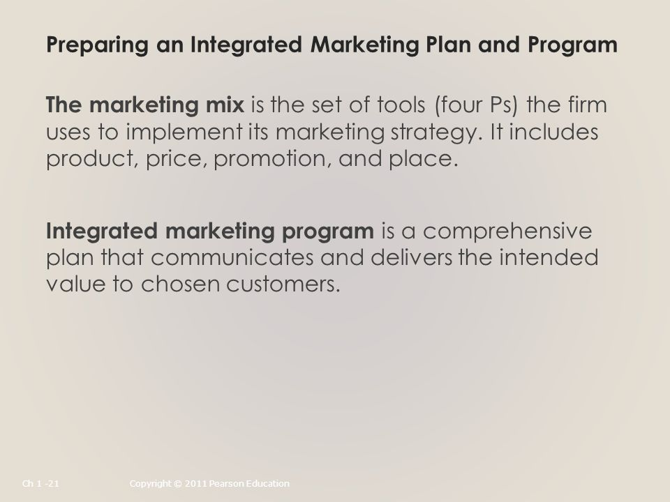 Preparing an Integrated Marketing Plan and Program The marketing mix is the set of tools (four Ps) the firm uses to implement its marketing strategy.