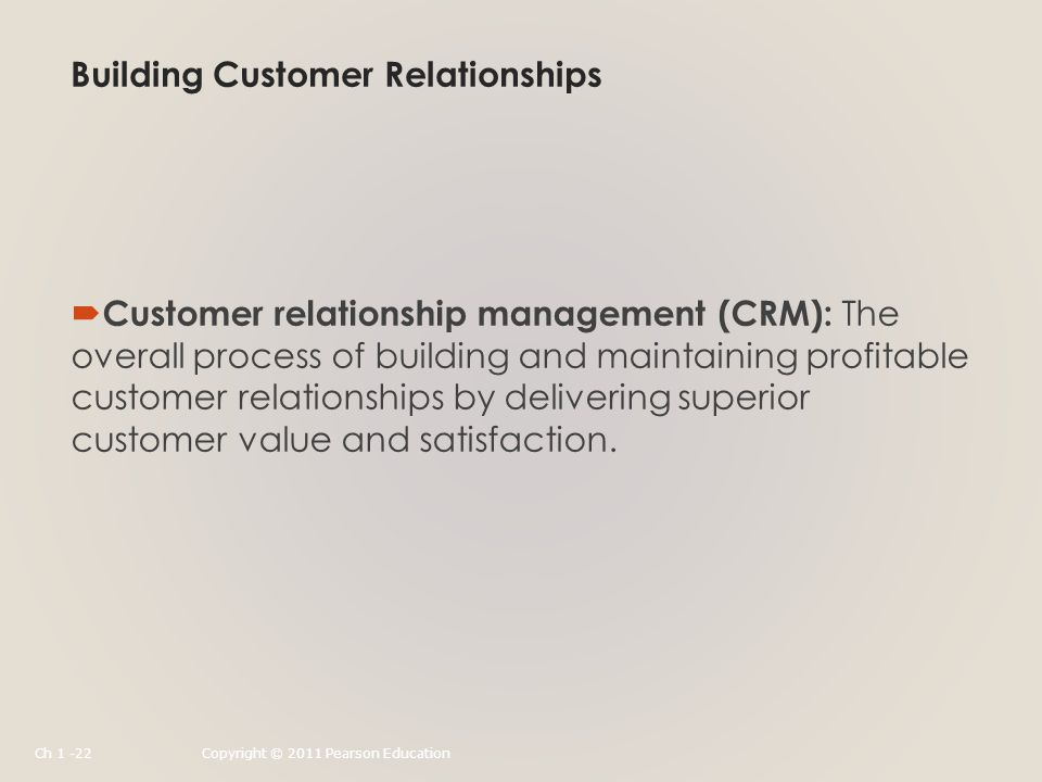 Building Customer Relationships  Customer relationship management (CRM): The overall process of building and maintaining profitable customer relationships by delivering superior customer value and satisfaction.