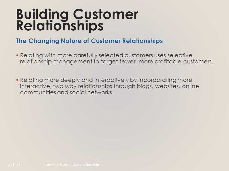 Building Customer Relationships Relating with more carefully selected customers uses selective relationship management to target fewer, more profitable customers.